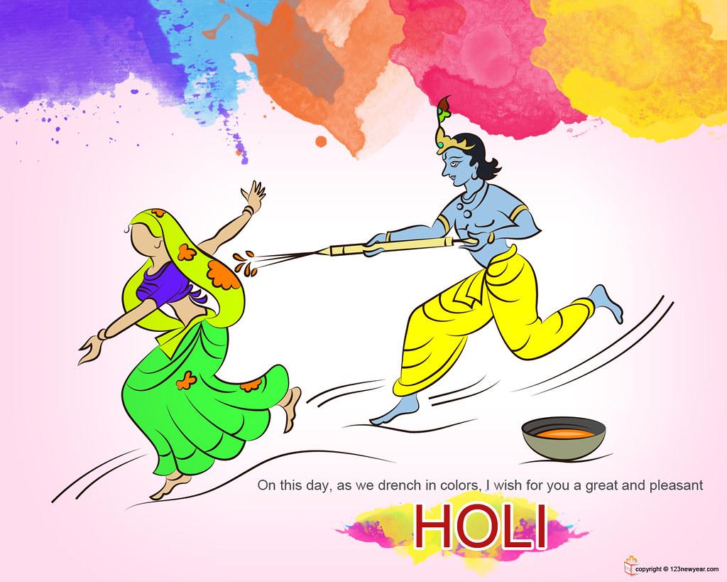 Radha Krishna Playing Holi - HD Wallpaper