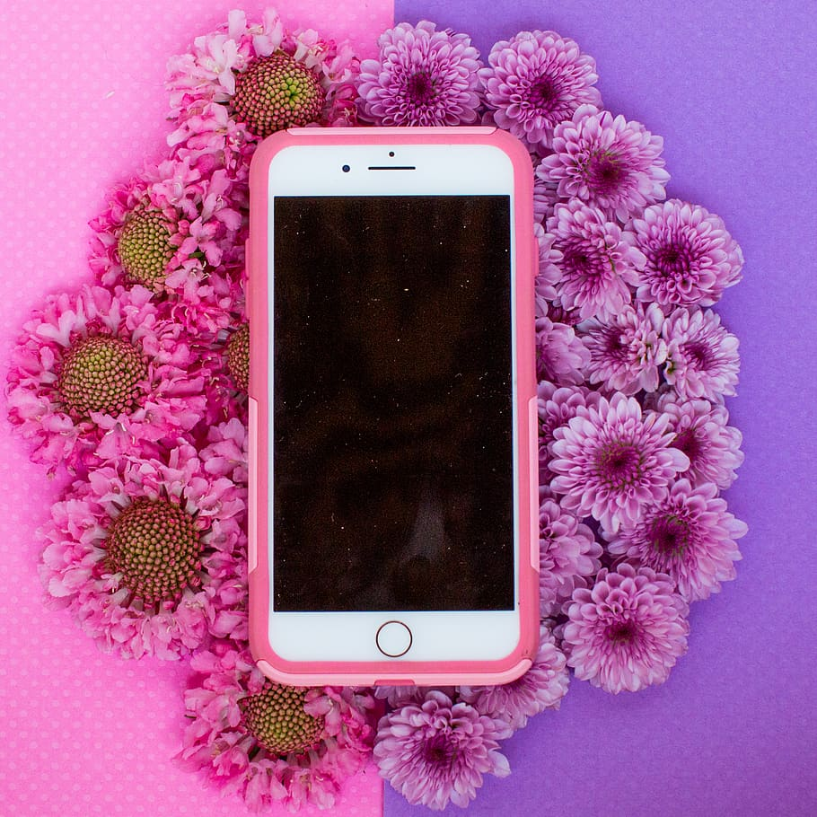 Gold Iphone 6 With Pink Case On White Flower Background Iphone Flower Pink Background 910x910 Wallpaper Teahub Io