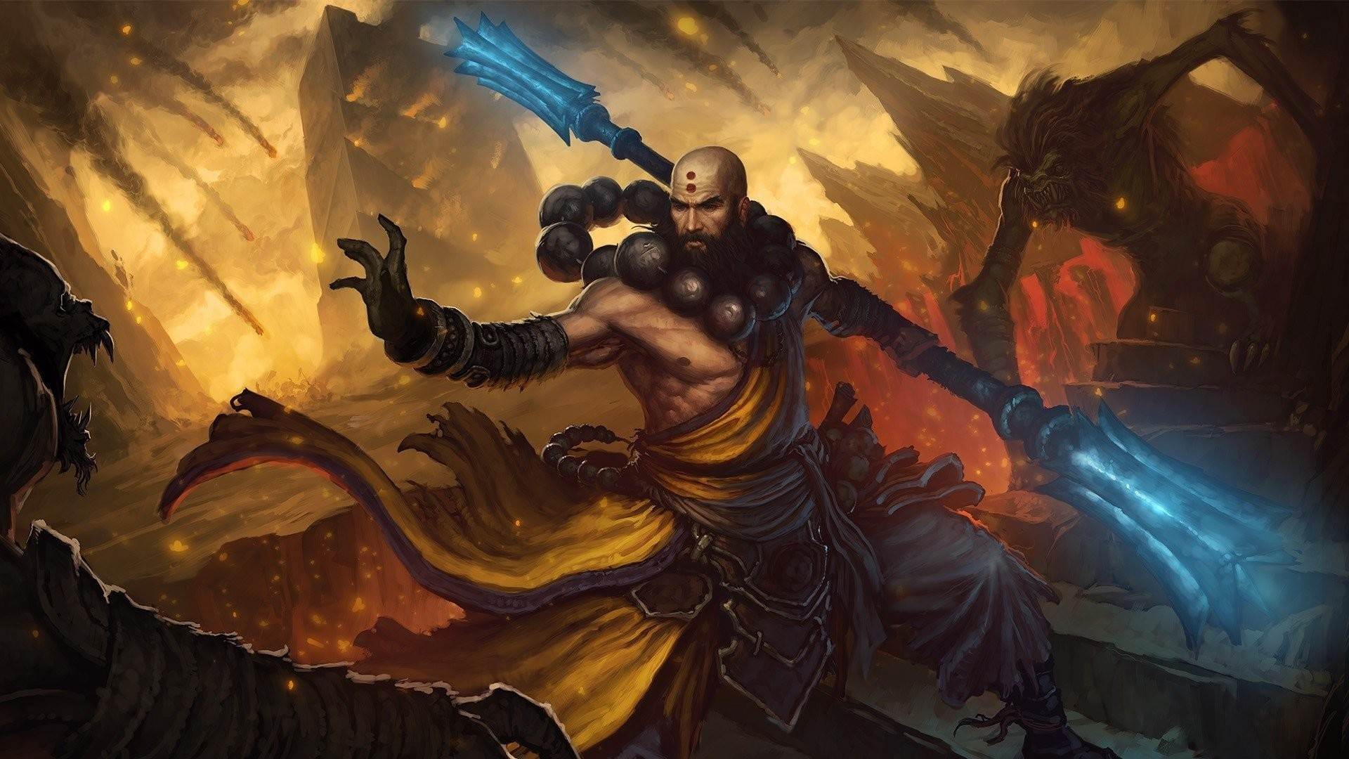 1920x1080, Fire Wizard Wallpapers High Definition   - Diablo 3 Monk - HD Wallpaper