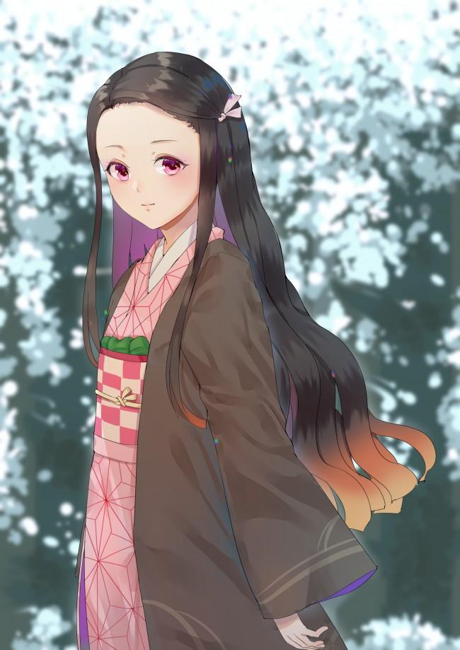Kamado Nezuko, Kimetsu No Yaiba, Long Hair, Traditional - Kimetsu No Yaiba Nezuko - HD Wallpaper