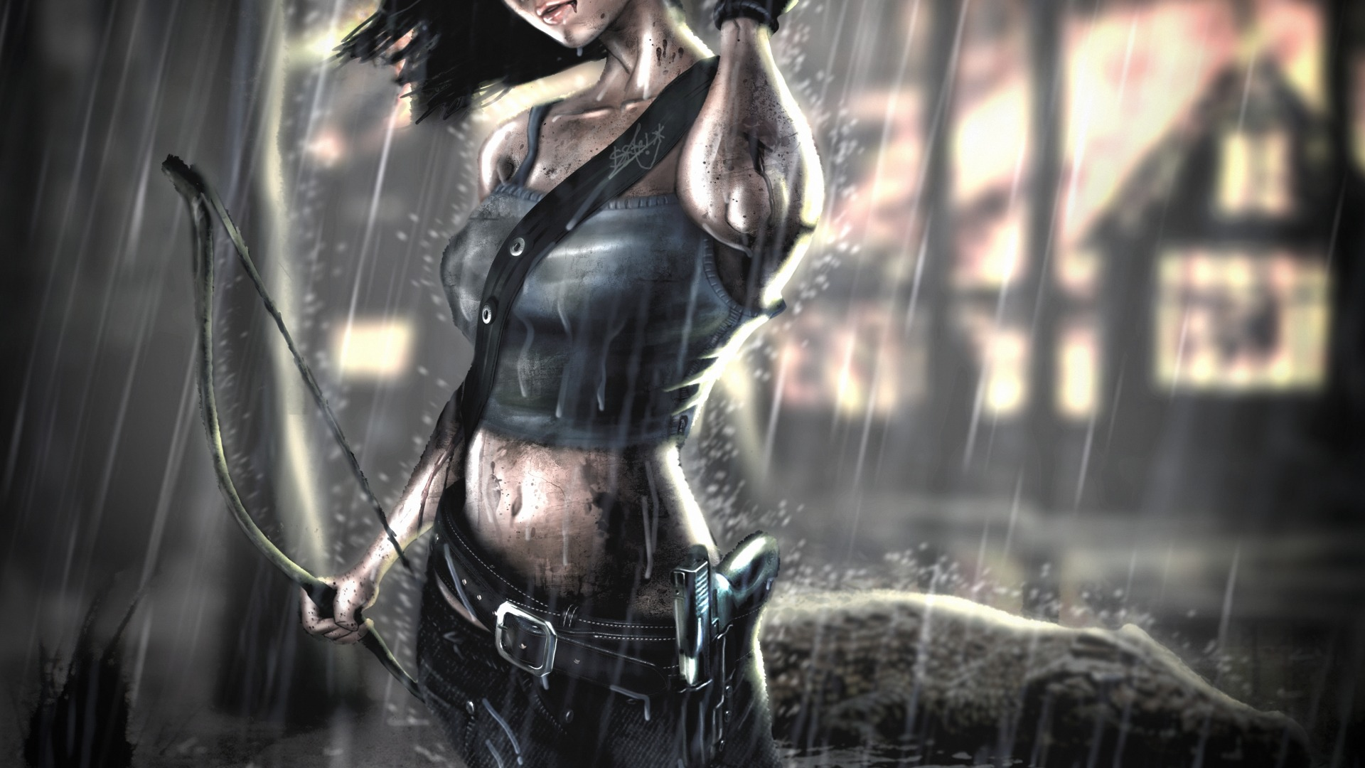Wallpaper Lara Croft Heavy Rain Bow Gun Lara Croft 1920x1080 Wallpaper Teahub Io