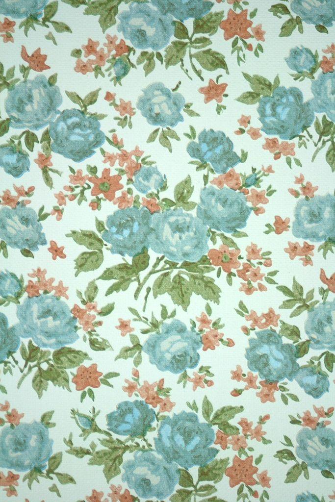 Vintage Wallpaper 50s Blue - HD Wallpaper