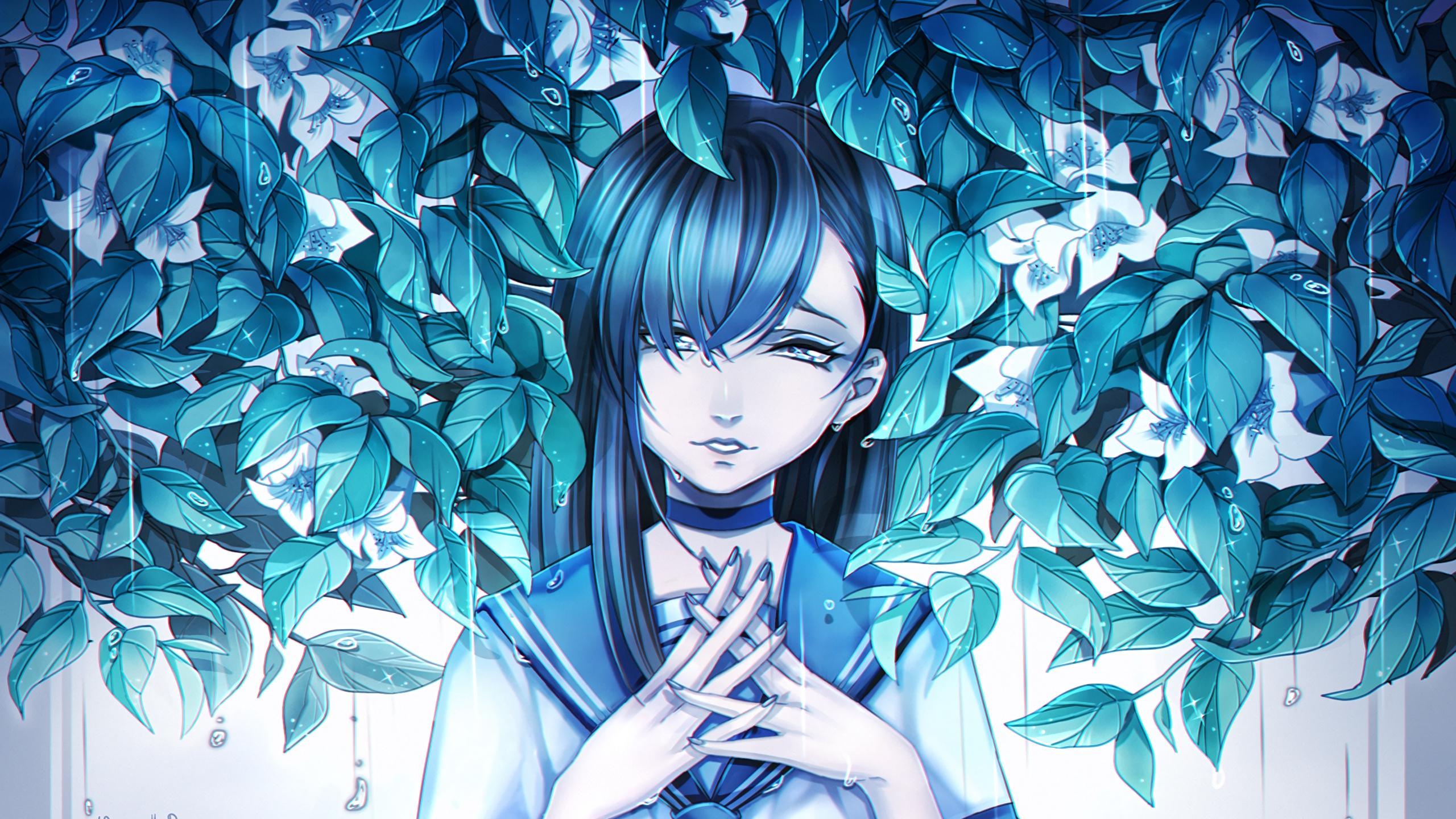 Wallpaper Girl, Anime, Sadness, Leaves, Art - Anime Art Girl Sad - HD Wallpaper